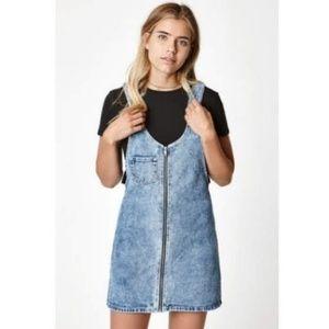 Pacsun denim jean zip up overall skirt dress